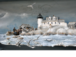 Pumpkin island, 1902, the day we moved to the lighthouse - 39 X 18 X 13 inches - détail - 1912